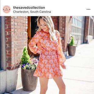 Brilliance Floral Chiffon Top& Skort Set in Orange